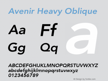 Avenir Heavy Oblique 8.0d3e1图片样张