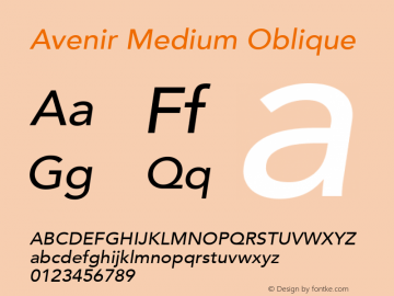 Avenir Medium Oblique 8.0d3e1图片样张