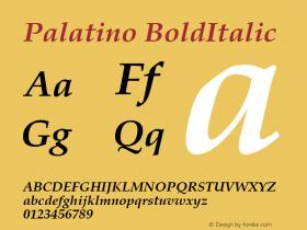 Palatino BoldItalic Version 1.00 Font Sample