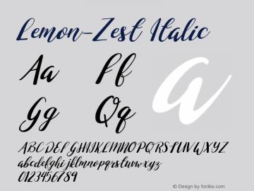 Lemon-Zest Italic Version 1.000;PS 001.000;hotconv 1.0.70;makeotf.lib2.5.58329图片样张