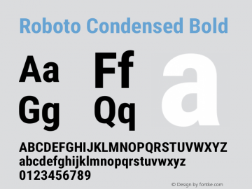 Roboto Condensed Bold Version 2.01289; 2015 Font Sample