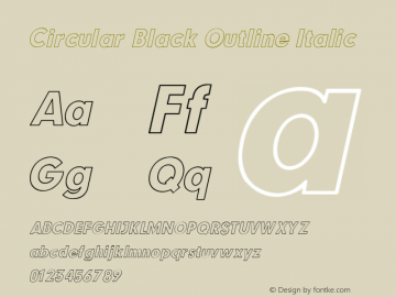 Circular Black Outline Italic V1.00图片样张