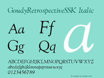 GoudyRetrospectiveSSK Italic Macromedia Fontographer 4.1 8/28/95图片样张