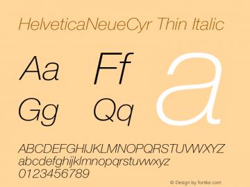 HelveticaNeueCyr-ThinItalic 001.000图片样张