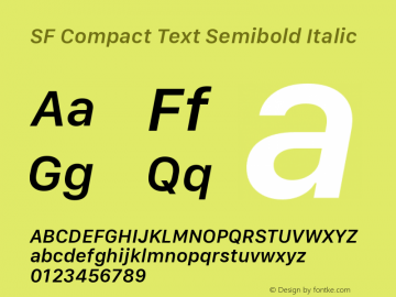 SF Compact Text Semibold Italic Version 1.00 November 17, 2016, initial release图片样张