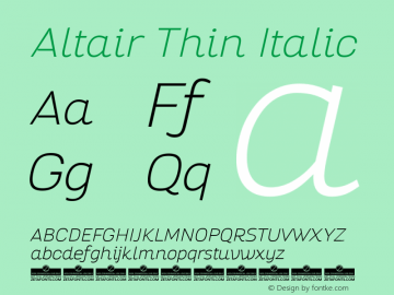Altair Thin Italic Version 1.000图片样张