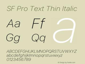 SF Pro Text Thin Italic Version 01.0d1e2图片样张