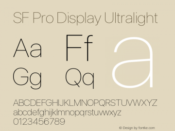 SF Pro Display Ultralight Version 01.0d1e2图片样张