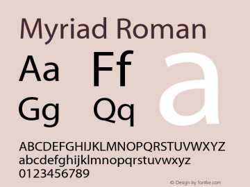 Myriad Roman Macromedia Fontographer 4.1.2 09/01/02图片样张