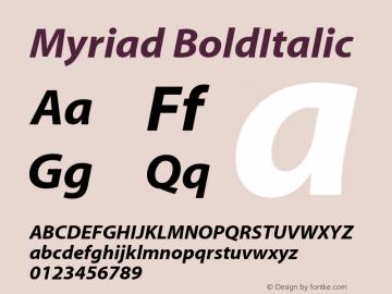 Myriad BoldItalic Macromedia Fontographer 4.1.2 09/01/02图片样张