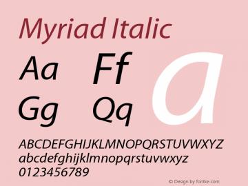 Myriad Italic Macromedia Fontographer 4.1.2 09/01/02图片样张