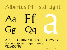 AlbertusMTStd-Light Version 1.000 2006 initial release图片样张