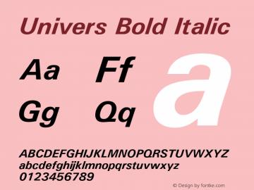 Univers Bold Italic Version 1.02 Font Sample