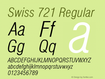 Swiss 721 Light Condensed Italic Version 2.0-1.0图片样张