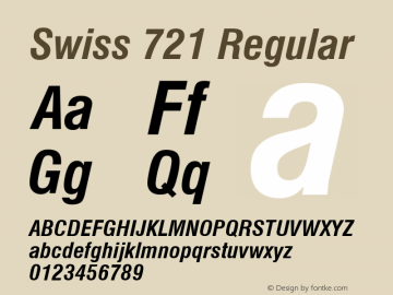 Swiss 721 Bold Condensed Italic Version 2.0-1.0图片样张