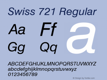 Swiss 721 Italic Version 2.0-1.0图片样张