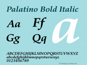 Palatino Bold Italic Version 1.60     05/10/2013 Font Sample
