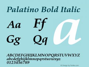 Palatino Bold Italic Version 1.60     05/10/2013图片样张