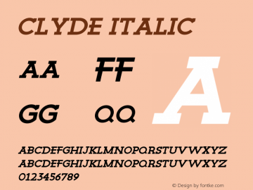 Clyde Regular Italic Version 1.000;PS 001.000;hotconv 1.0.88;makeotf.lib2.5.64775图片样张