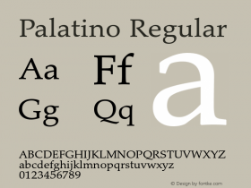 Palatino Regular Version 1.60     05/10/2013 Font Sample