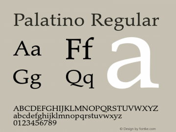 Palatino Regular Version 1.60     05/10/2013图片样张