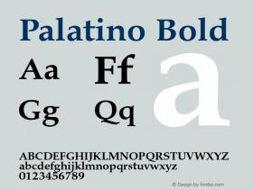 Palatino Bold Version 1.60     05/10/2013 Font Sample