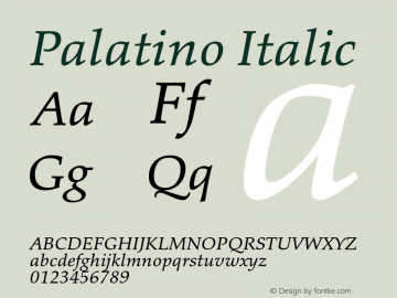 Palatino Italic Version 1.60     05/10/2013图片样张