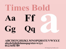 Times Bold Version 1.00 April 10, 2011, initial release图片样张