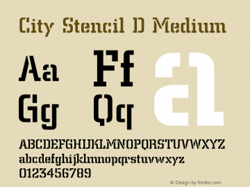 City Stencil D Font,CitySteD-Medi Font,City Stencil D Medium