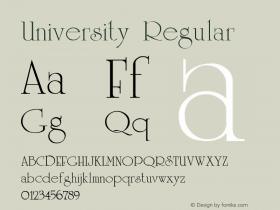 University Regular Altsys Fontographer 3.5  8/1/92图片样张