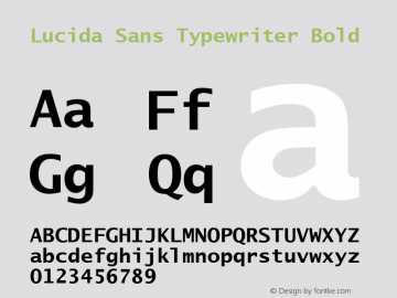 Lucida Sans Typewriter Bold Version 1.69图片样张