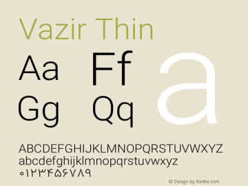 Vazir Thin Version 11.0.1图片样张