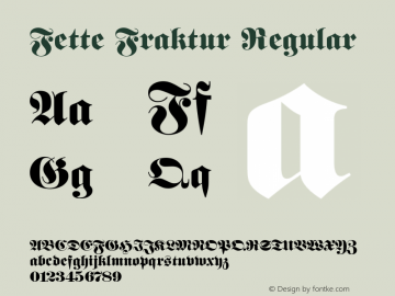 Fette Fraktur Regular Version 001.003 Font Sample