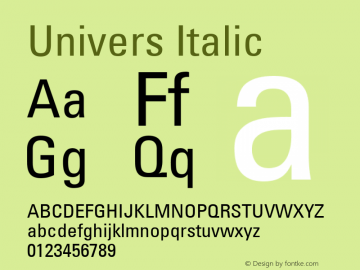 Univers 57 Condensed Version 1.02 Font Sample