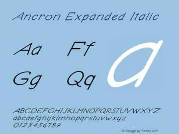 Ancron-ExpandedItalic Version 1.000图片样张