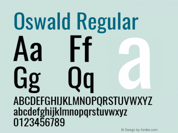 Oswald Regular Version 4.001图片样张