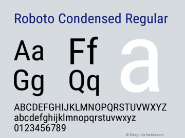 Roboto Condensed Regular Version 2.01289; 2015 Font Sample