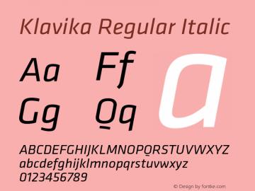 Klavika-RegularItalic Version 2.000 2004 initial release图片样张