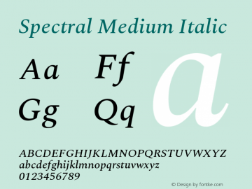 Spectral Medium Italic Version 1.002图片样张