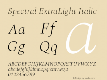 Spectral ExtraLight Italic Version 1.002图片样张