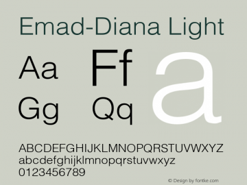 Emad-Diana Light Version 1.001;PS 001.001;hotconv 1.0.70;makeotf.lib2.5.58329图片样张