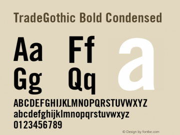 TradeGothic Bold Condensed Version 001.001图片样张