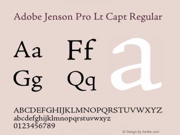 Adobe Jenson Pro Lt Capt Regular OTF 1.013;PS 001.000;Core 1.0.27;makeotf.lib(1.11) Font Sample