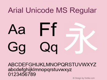 Arial Unicode MS Version 1.00图片样张