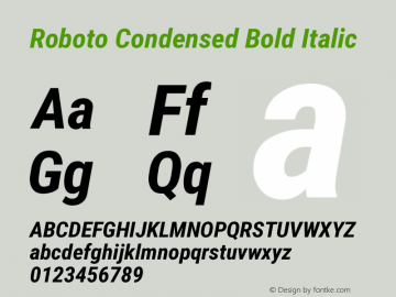 Roboto Condensed Bold Italic Version 2.01404; 2016 Font Sample