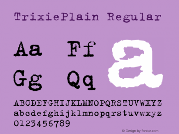 TrixiePlain Altsys Fontographer 4.0.3 15/3/95图片样张