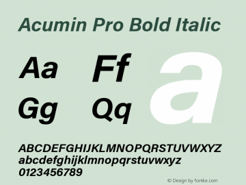 AcuminPro-BoldItalic Version 1.011图片样张
