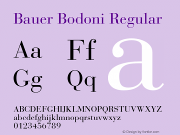 BauerBodoni-Roman Version 001.003; t1 to otf conv图片样张