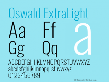 Oswald ExtraLight Version 4.003图片样张