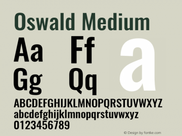 Oswald Medium Version 4.003图片样张